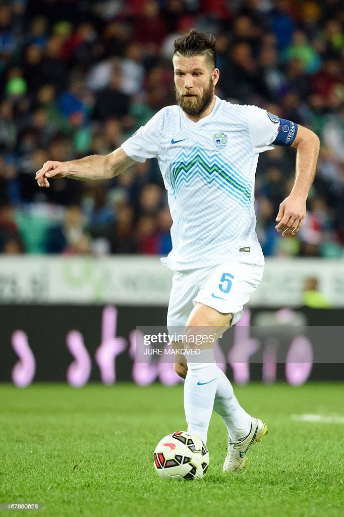 Slovenia's defender <a gi-track='captionPersonalityLinkClicked' href=/galleries/search?phrase=Bostjan+Cesar&family=editorial&specificpeople=2084483 ng-click='$event.stopPropagation()'>Bostjan Cesar</a> controls the ball during the Euro 2016 qualifying group E football match between Slovenia and San Marino at the Stozice Stadium in Ljubljana on March 27, 2015.