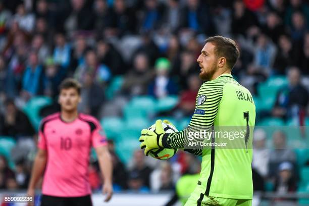 Slovenia's goalkeeper Jan Oblak looks on during the FIFA World Cup 2018 qualifier football match between Slovenia and Scotland at the Stozice stadium...