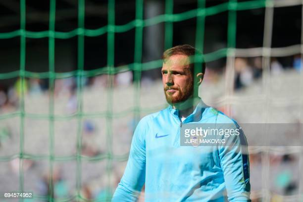 Slovenia's goalkeeper Jan Oblak warms up prior to the FIFA World Cup 2018 football qualification match between Slovenia and Malta at Stadium Stozice...