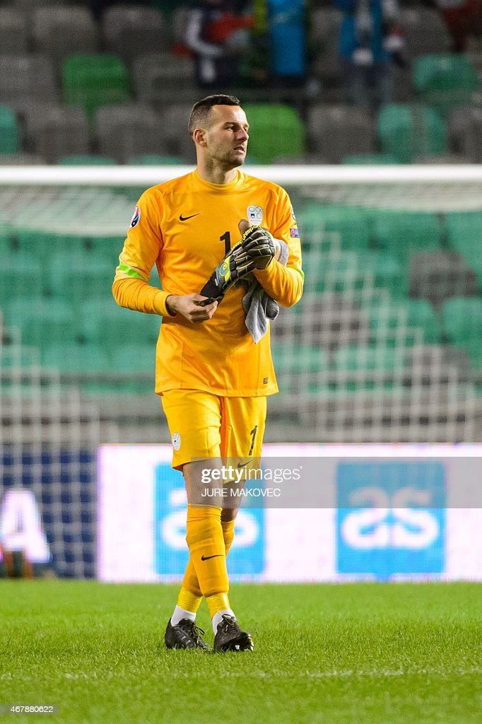 Slovenia's goalkeeper Samir Handanovic attends the Euro 2016 qualifying group E football match between Slovenia and San Marino at the Stozice Stadium...