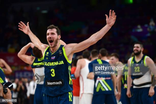 Slovenia's guard Goran Dragic celebrates after his team's win after the FIBA Eurobasket 2017 men's semifinal basketball match between Spain and...