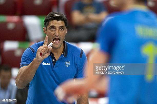 Slovenia's Head Coach Andrea Giani gestures during the 2015 Men's European Volleyball Championship quarterfinal match between Poland and Slovenia in...