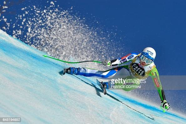 TOPSHOT Slovenia's Ilka Stuhec competes in the Alpine Skiing FIS World Cup Ladies Super G race on February 25 2017 in CransMontana / AFP / Fabrice...