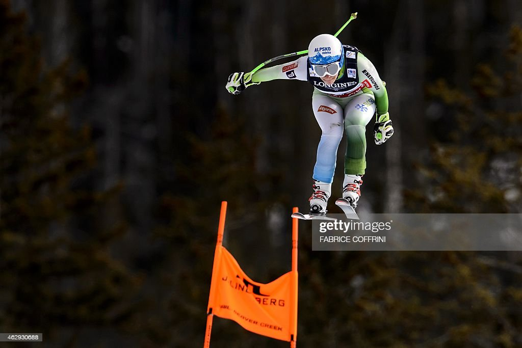 Slovenia's Ilka Stuhec jumps during a downhill training for the 2015 World Alpine Ski Championships women's combined event, on February 7, 2015 in Beaver Creek, Colorado.