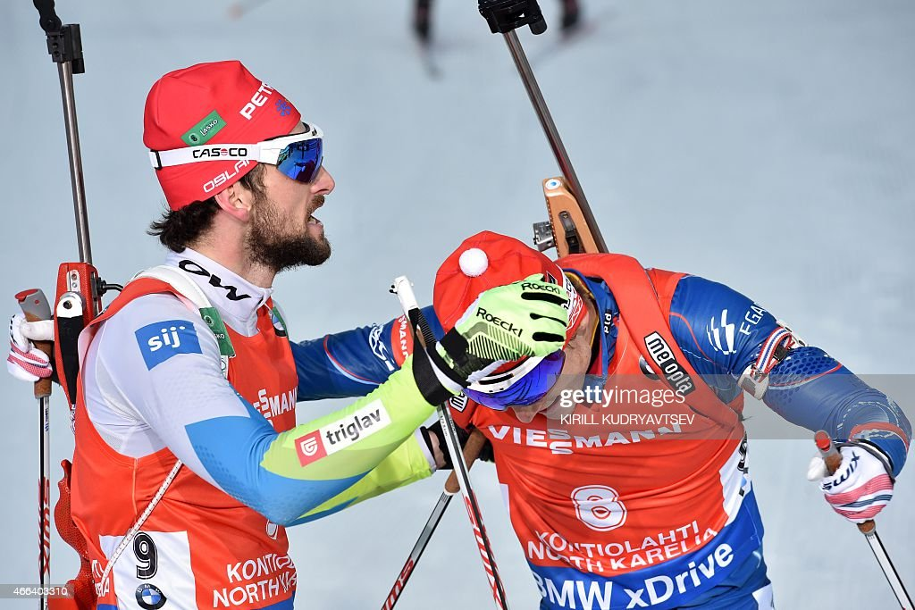 Slovenia's <a gi-track='captionPersonalityLinkClicked' href=/galleries/search?phrase=Jakov+Fak&family=editorial&specificpeople=5644158 ng-click='$event.stopPropagation()'>Jakov Fak</a> (L) and Czech Republic's Ondrej Moravec react after the Men 15 km Mass Start at the IBU Biathlon World Championship in Kontiolahti, Finland on March 15, 2015. Slovenia's <a gi-track='captionPersonalityLinkClicked' href=/galleries/search?phrase=Jakov+Fak&family=editorial&specificpeople=5644158 ng-click='$event.stopPropagation()'>Jakov Fak</a> won the competition, Czech Republic's Ondrej Moravec placed second and Norway's Tarjei Boe placed third.