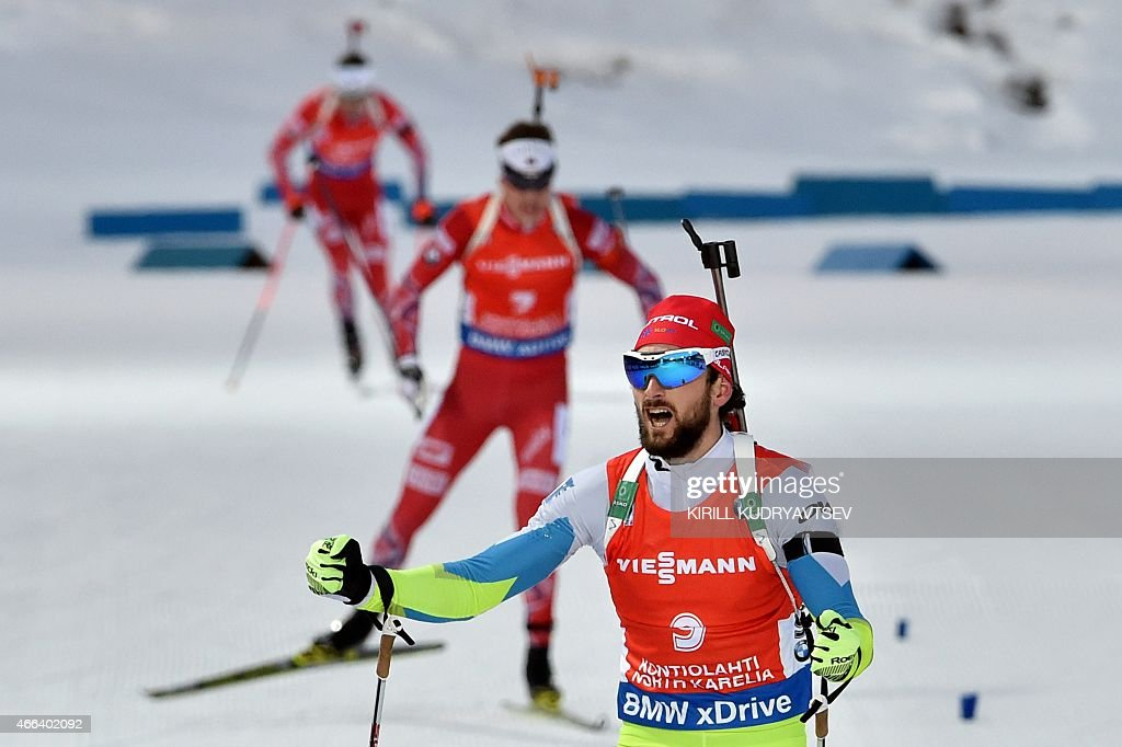 Slovenia's <a gi-track='captionPersonalityLinkClicked' href=/galleries/search?phrase=Jakov+Fak&family=editorial&specificpeople=5644158 ng-click='$event.stopPropagation()'>Jakov Fak</a> reacts after the Men 15 km Mass Start at the IBU Biathlon World Championship in Kontiolahti, Finland on March 15, 2015. Slovenia's <a gi-track='captionPersonalityLinkClicked' href=/galleries/search?phrase=Jakov+Fak&family=editorial&specificpeople=5644158 ng-click='$event.stopPropagation()'>Jakov Fak</a> won the competition, Czech Republic's Ondrej Moravec placed second and Norway's Tarjei Boe placed third.