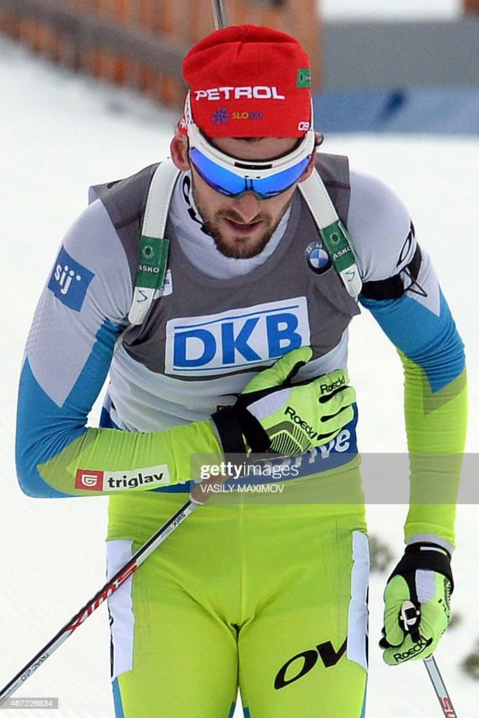 Slovenia's <a gi-track='captionPersonalityLinkClicked' href=/galleries/search?phrase=Jakov+Fak&family=editorial&specificpeople=5644158 ng-click='$event.stopPropagation()'>Jakov Fak</a> reacts as he crosses the finish line to win the men's 15 km mass start event of the IBU Biathlon Word Cup in the Siberian city of Khanty-Mansiysk, on March 22, 2015.