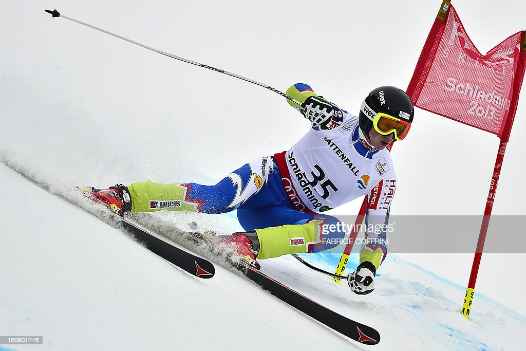 Slovenia's Klemen Kosi competes during the men's Super-G event of the 2013 Ski World Championships in Schladming, Austria on February 6, 2013.