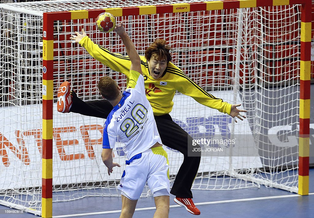 Slovenia's left wing Luka Zvizej (C) tries to score past Korea's goalkeeper Park Chan-Young during the 23rd Men's Handball World Championships preliminary round Group C match South Korea vs Slovenia at the Pabellon Principe Felipe in Zaragoza on January 14, 2013.