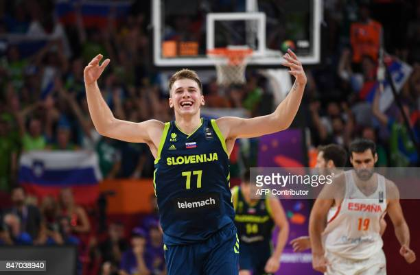 Slovenia's Luka Doncic celebrates the team's win after the FIBA Eurobasket 2017 men's semifinal basketball match between Spain and Slovenia at the...
