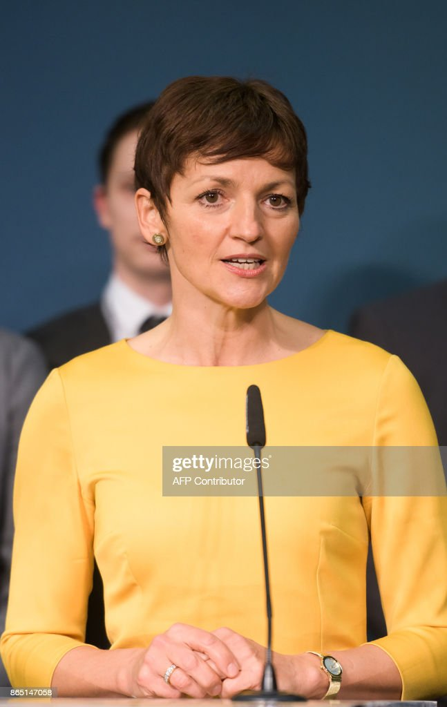 Slovenia's Minister of Education, Science and Sport and presidential candidate Maja Makovec Brencic addresses media representatives after the first official results of presidential elections were released in Ljubljana on October 22, 2017.