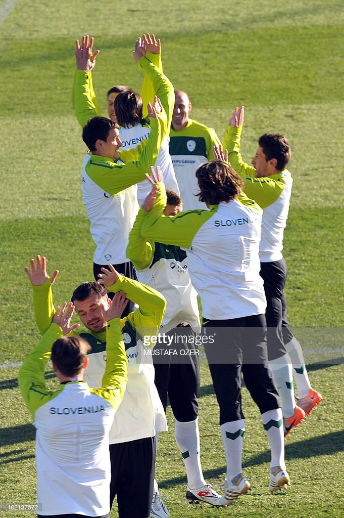 Slovenia's national team players practice during a training session at Hyde Park High School stadium in Johannesburg, on June 16, 2010 during the World Cup in South Africa.