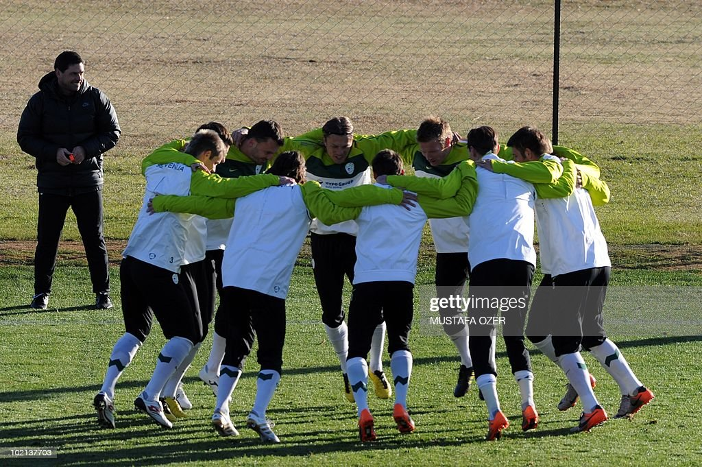 Slovenia's national team players take part in a training session at Hyde Park High School stadium in Johannesburg, on June 16, 2010 during the World Cup in South Africa.