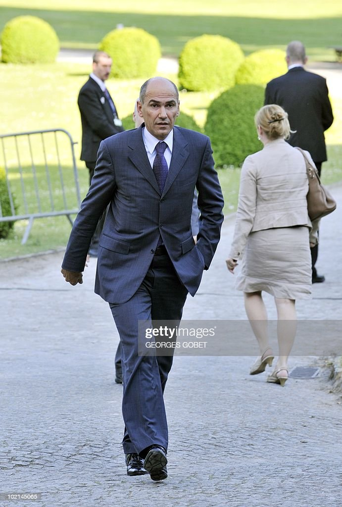 Slovenia's opposition leader Janez Jansa arrives for a statutory Summit of the European People's Party (EPP), on June 16, 2010 in Meise, near Brussels, on the eve of an European Council gathering EU's heads of state. During the one-day meeting, EU leaders are expected to adopt 'Europe 2020', the new strategy for jobs and growth, and will also discuss the forthcoming G 20 summit, economic governance and post-Copenhagen climate strategy.