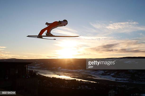 Slovenia's Peter Prevc competes during the Normal Hill Individual competition of the Fis Ski Jumping World Cup in Lillehammer Norway on December 6...