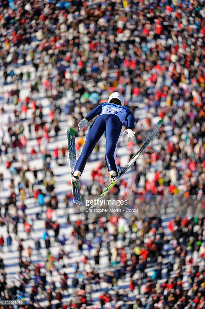 Slovenia's Peter Prevc during the qualification round for the long hill individual ski jumping at Whistler Olympic Park on day 8 of the Vancouver...