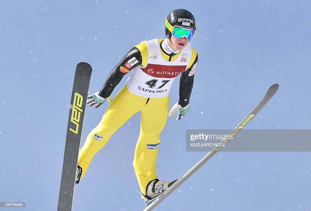 Slovenia's Peter Prevc jumps during the Ski Jumping World Cup competition in Sapporo, Hokkaido prefecture on January 20, 2013. Prevc placed ninth in the event with a total of 219.7 points.