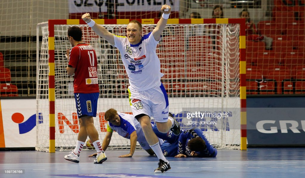 Slovenia's pivot Miha Zvizej celebrates a goal during the 23rd Men's Handball World Championships preliminary round Group C match Serbia vs Slovenia at the Pabellon Principe Felipe in Zaragoza on January 19, 2013. Slovenia won 33-31.