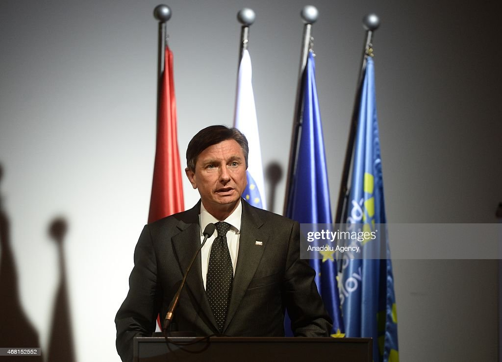 Slovenia's President <a gi-track='captionPersonalityLinkClicked' href=/galleries/search?phrase=Borut+Pahor&family=editorial&specificpeople=2476171 ng-click='$event.stopPropagation()'>Borut Pahor</a> gives a speech during Turkey - Slovenia Business Forum at Four Point Hotel in Ljubljana, Slovenia on March 30, 2015.