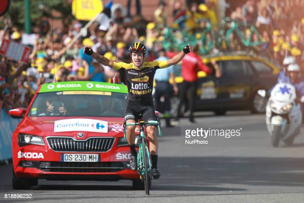 Slovenia's Primoz Roglic celebrates as he crosses the finish line during the 183 km seventeenth stage of the 104th edition of the Tour de France...