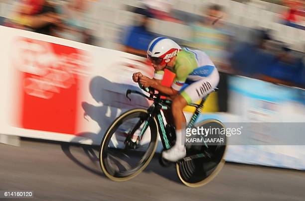 Slovenia's Primoz Roglic competes in the men's elite individual time trial event as part of the 2016 UCI Road World Championships on October 12 in...