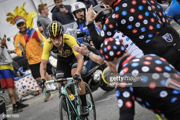 Slovenia's Primoz Roglic rides in a breakaway during the 183 km seventeenth stage of the 104th edition of the Tour de France cycling race on July 19...