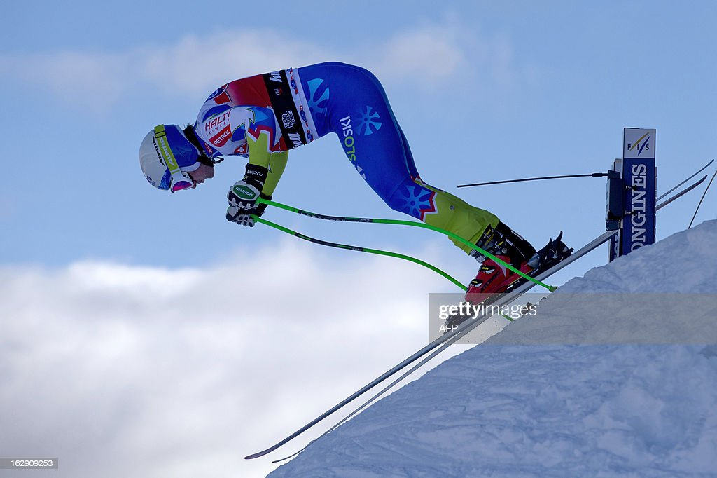 Slovenia's Rok Perko starts during the men's downhill training at the FIS Ski World Cup on March 1, 2012 in Kvitfjell, Norway.