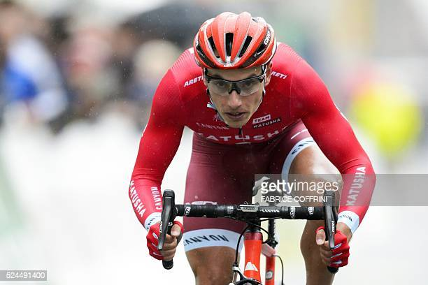 Slovenia's Simon Spilak competes in the 395km prologue of the 70th Tour de Romandie cycling stage on April 26 in La ChauddeFonds Western Switzerland...