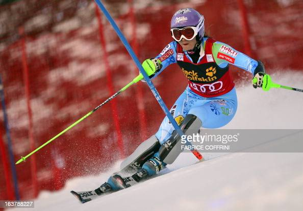 Slovenia's Tina Maze competes during the Women Slalom race at the Alpine ski World Cup finals on March 16 2013 in Lenzerheide AFP PHOTO / FABRICE...
