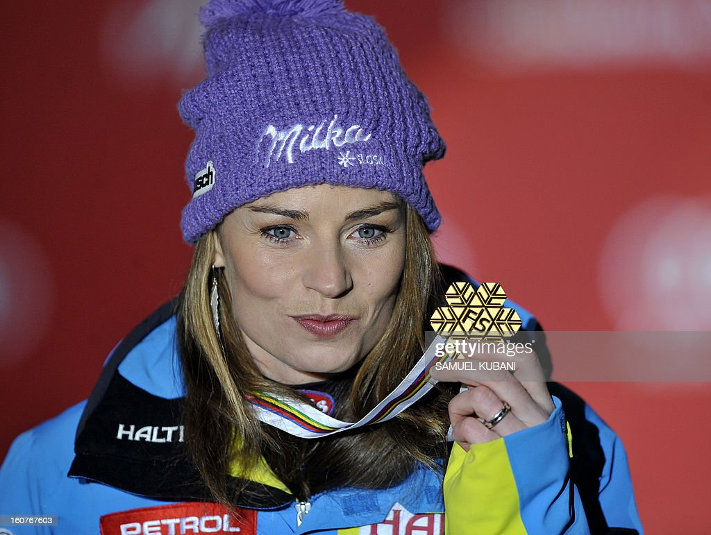 Slovenia's Tina Maze holds her gold medal after winning the women's Super-G event of the 2013 Ski World Championships in Schladming, Austria on February 5, 2013.