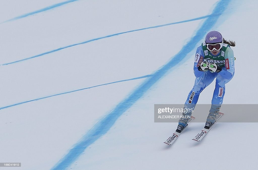 Slovenia's Tina Maze practices during the St Anton ladies downhill training session as part of the FIS Ski World Cup held in Sankt Anton am Arlberg on January 10, 2013.