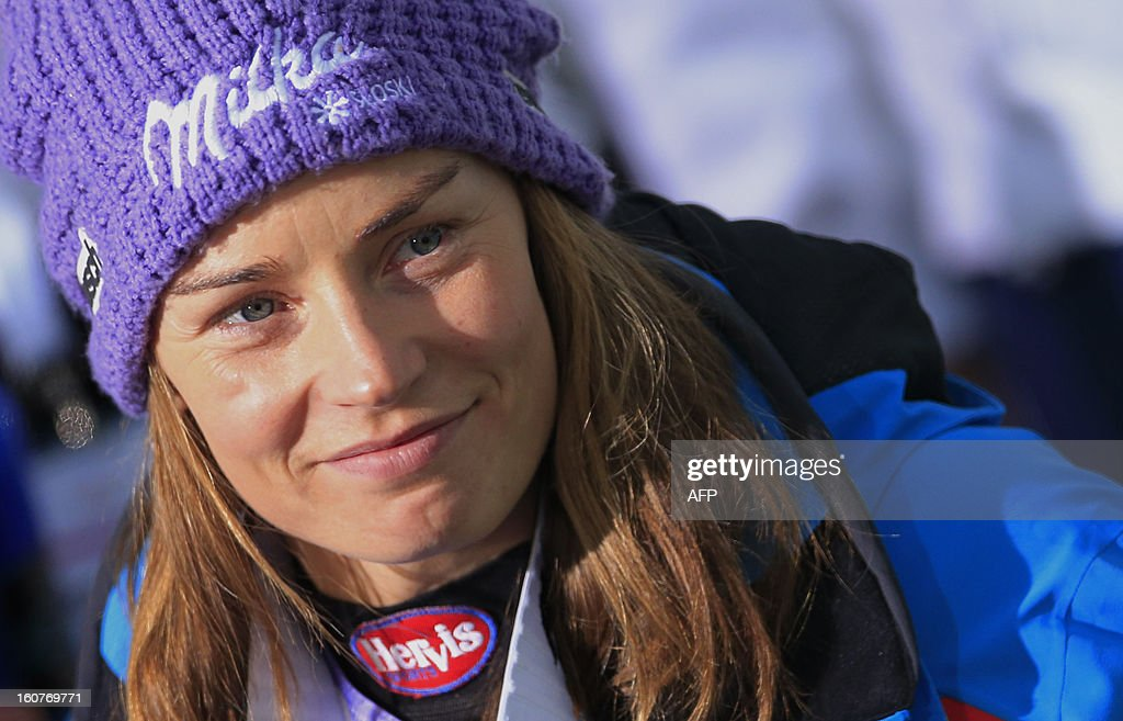 Slovenia's Tina Maze reacts after the women's Super-G event of the 2013 Ski World Championships in Schladming, Austria on February 5, 2013. Maze won the event ahead of Switzerland's Gut and US Mancuso.