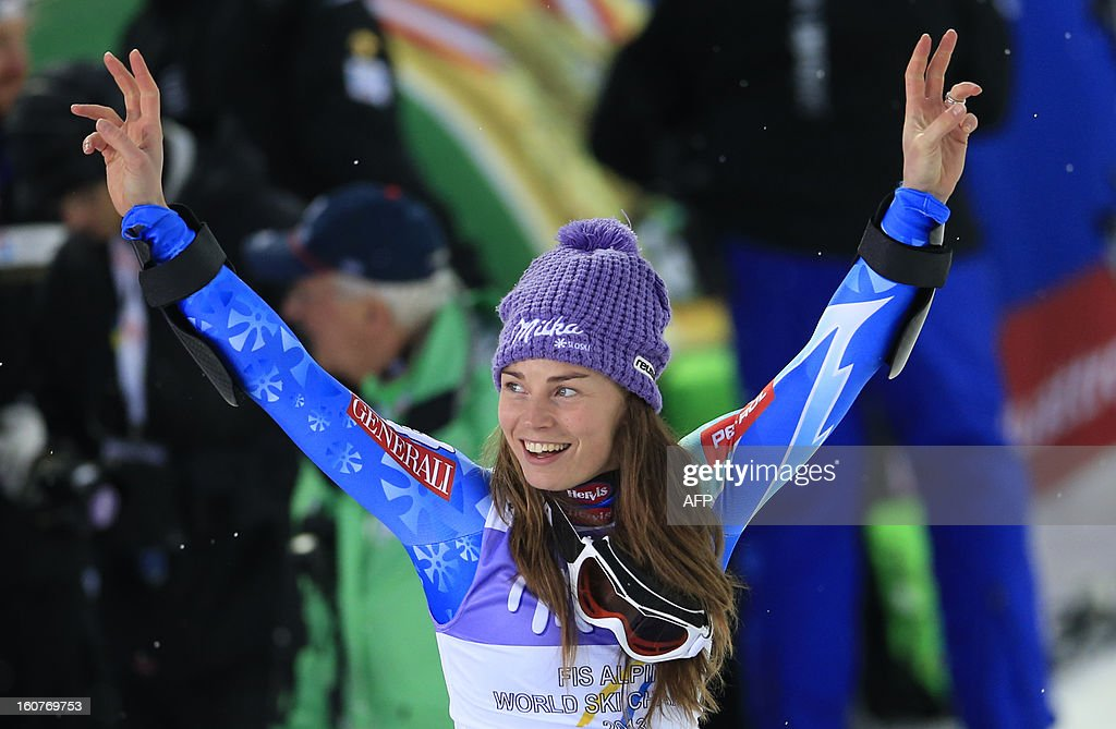 Slovenia's Tina Maze reacts as she arrives on the podium after winning the women's Super-G event of the 2013 Ski World Championships in Schladming, Austria on February 5, 2013. Maze won the event ahead of Switzerland's Gut and US Mancuso.