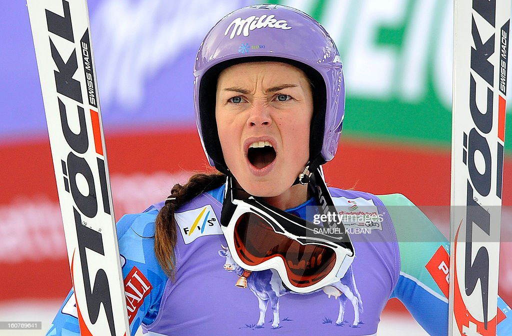 Slovenia's Tina Maze reacts as US Lindsey Vonn (not pictured) falls during the women's Super-G event of the 2013 Ski World Championships in Schladming, Austria on February 5, 2013.
