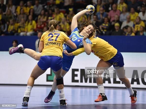TOPSHOT Slovenia's Tjasa Stanko shoots during the Women's European Handball Championship Group A match Slovenia v Sweden in Stockholm Sweden on...