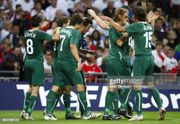 Slovenia's Zlatan Ljubijankic celebrates with his team mates after scoring his side's first goal of the game