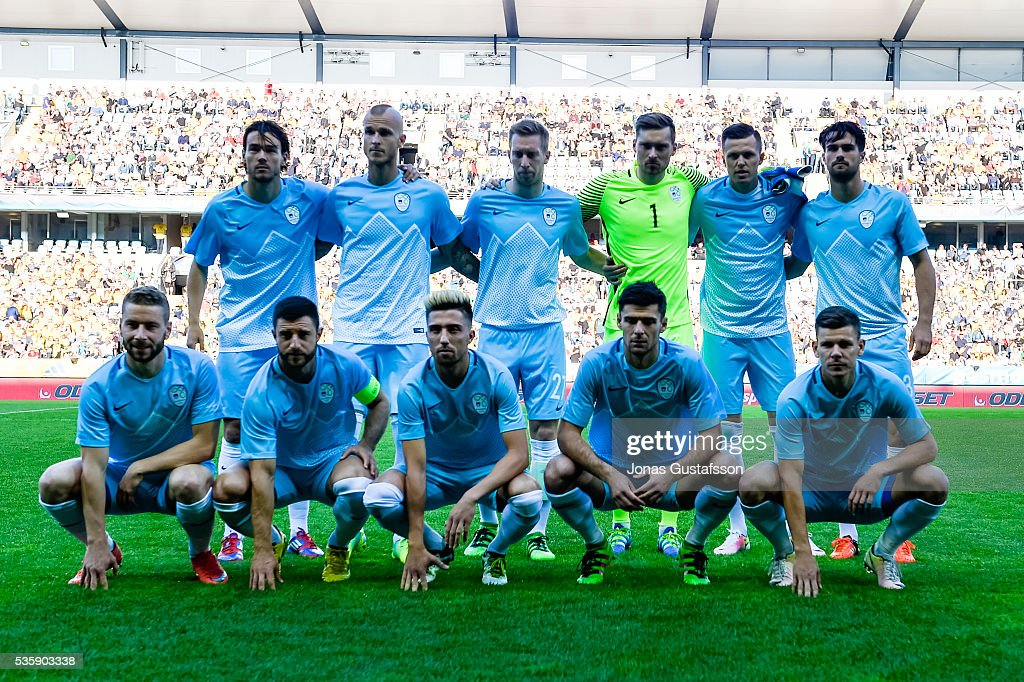 Slovenien line up during the international friendly match between Sweden and Slovenia May 30, 2016 in Malmo, Sweden.