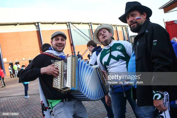 Slovina fans singing prior to the FIFA 2018 World Cup Qualifier between Scotland and Slovenia at Hampden Park on March 26 2017 in Glasgow Scotland