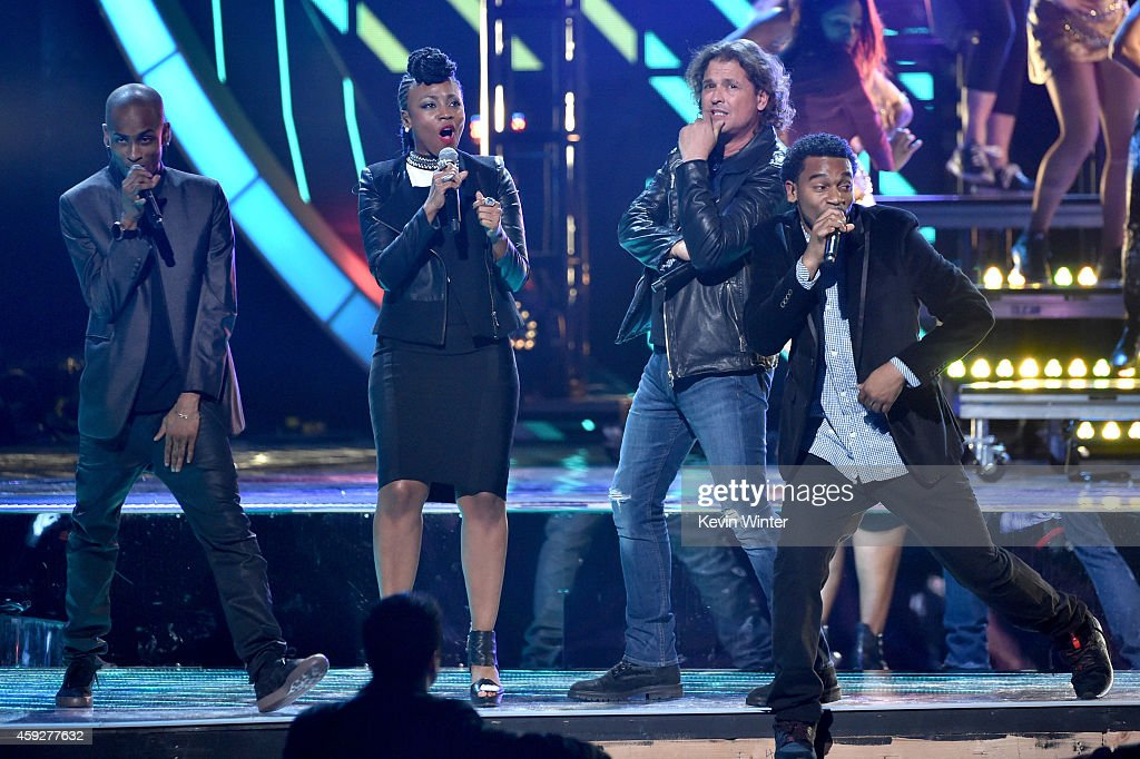 Slow and Goyo of ChocQuibTown, singer Carlos Vives, and Tostao of ChocQuibTown perform onstage during rehearsals for the 15th annual Latin GRAMMY Awards at the MGM Grand Garden Arena on November 19, 2014 in Las Vegas, Nevada.