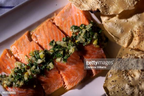 Slow baked salmon fillet with preserved lemon and herb relish