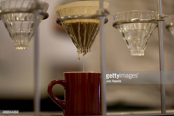 A slowbrew process coffee is made at Eternity Coffee Roasters during National Coffee Day on September 29 2014 in Miami Florida The day is for coffee...