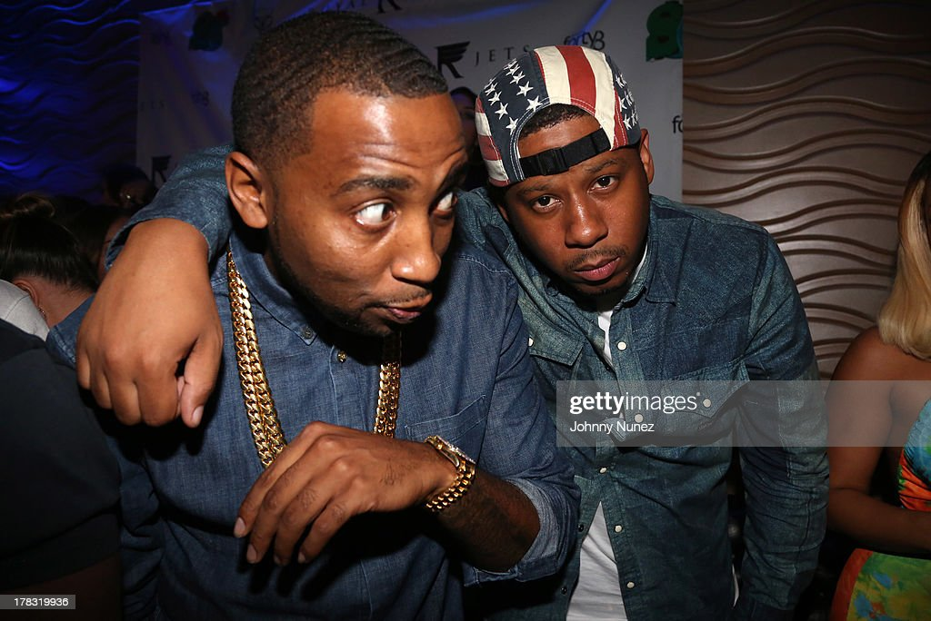 Slowbucks founder Windsor 'Slow' Lubin and recording artist Vado attend NY Knicks player JR Smith, Slow Of Slowbucks & Big Ben's Birthday Celebration at Stage 48 on August 28, 2013 in New York City.
