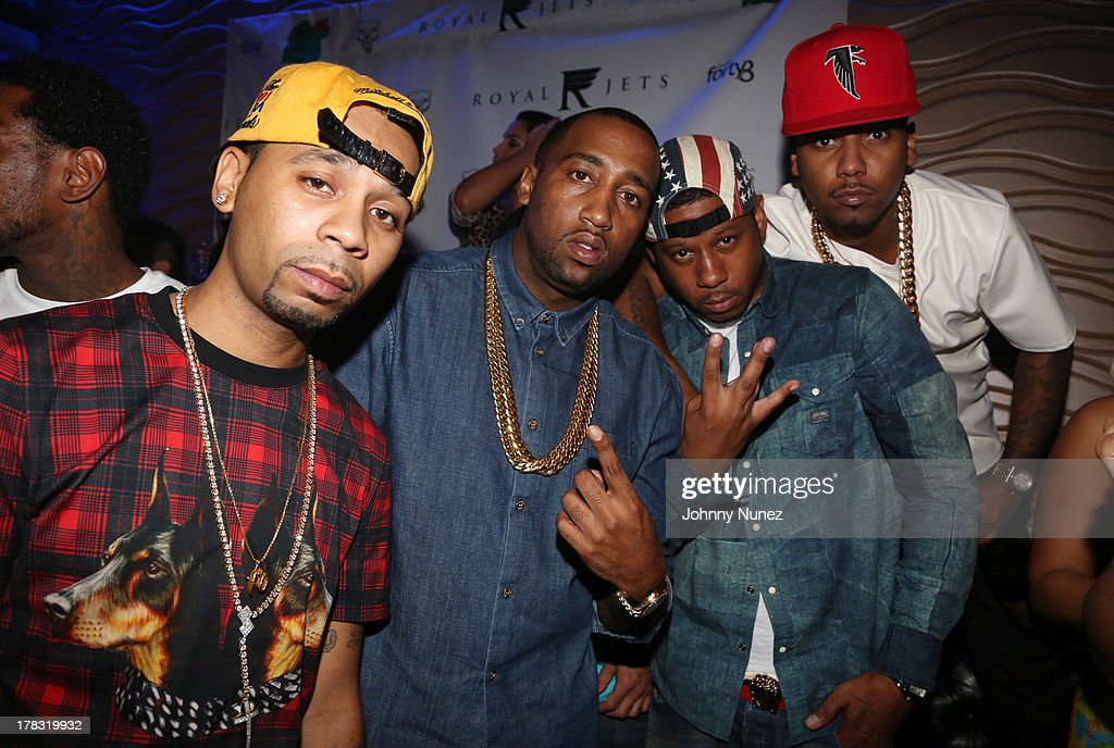 Slowbucks founders Rodney 'Bucks' Charlemagne and Windsor 'Slow' Lubin, and recording artists Vado and <a gi-track='captionPersonalityLinkClicked' href=/galleries/search?phrase=Juelz+Santana&family=editorial&specificpeople=608338 ng-click='$event.stopPropagation()'>Juelz Santana</a> attend NY Knicks player JR Smith, Slow Of Slowbucks & Big Ben's Birthday Celebration at Stage 48 on August 28, 2013 in New York City.
