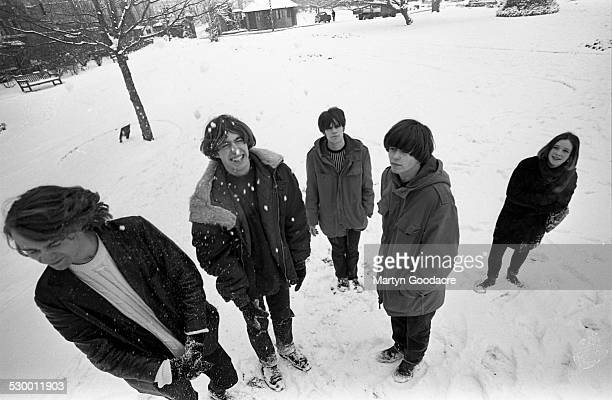 Slowdive group portrait Reading United Kingdom 1990 Line up consists of Neil Halstead Christian Savill Rachel Goswell Nick Chaplin and Simon Scott