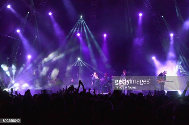 Slowdive performs onstage during day 1 of FYF Fest 2017 on July 21 2017 at Exposition Park in Los Angeles California