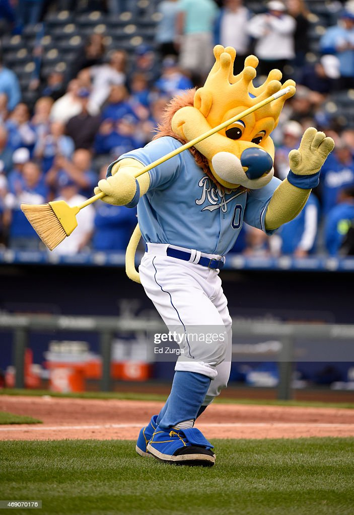 Sluggerrr the Kansas City Royals mascot twirls a broom after the Royals beat the Chicago White Sox 4-1 and swept the three game series on April 9, 2015 at Kauffman Stadium in Kansas City, Missouri.