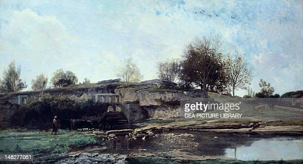 Sluice in the Optevoz Valley by Charles Francois Daubigny oil on canvas 92x162 cm Rouen Musée Des BeauxArts