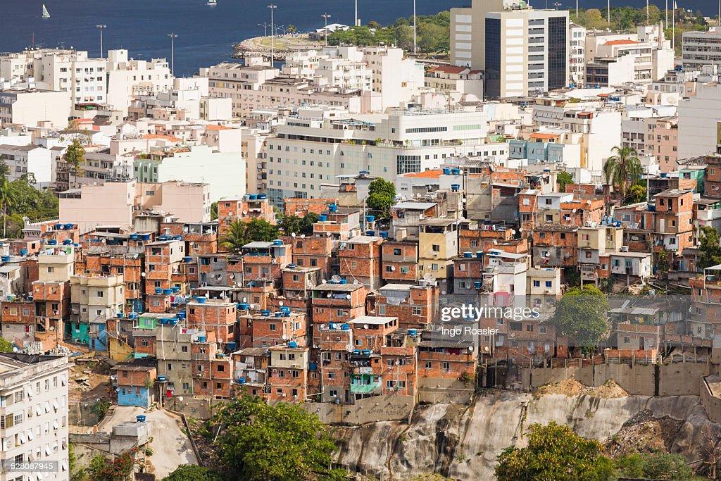 Slum and middle class neighborhood : ストックフォト