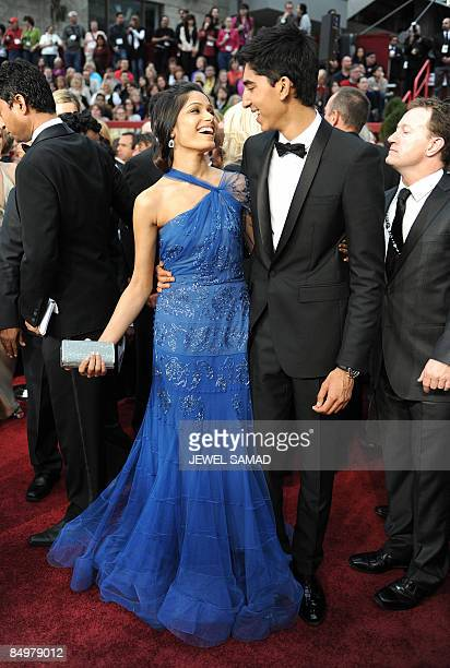 'Slumdog Millionaire' lead actors Dev Patel and Freida Pinto arrive at the 81st Academy Awards at the Kodak Theater in Hollywood California on...