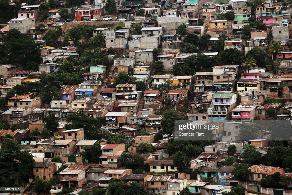 Slums are viewed in the capital city of Tegucigalpa on July 19 2012 in Tegucigalpa Honduras Honduras now has the highest per capita murder rate in...